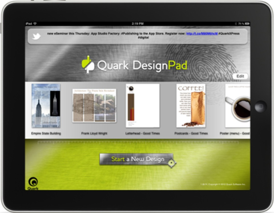 Quark Releases Preview of iPad App for Grid-based Design