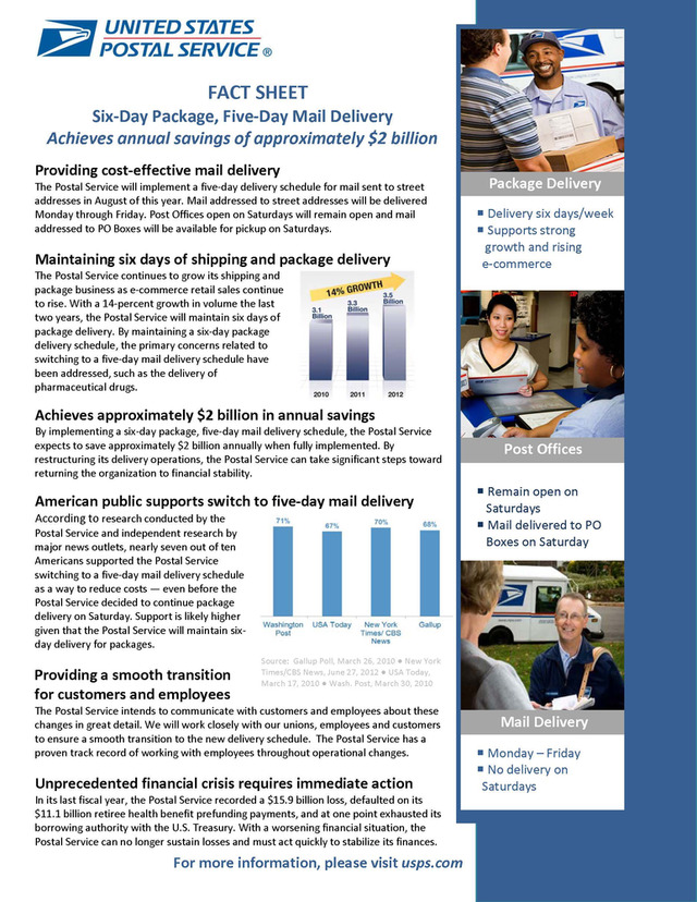 Six-Day Package, Five-Day Mail Delivery Fact Sheet